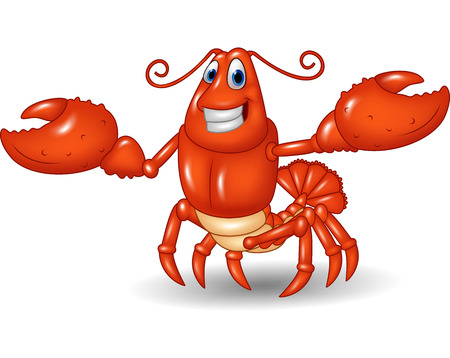 gourmet dinner: Vector illustration of Cartoon happy lobster hands up isolated on white background