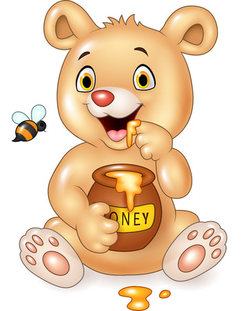 Vector illustration of Cartoon funny baby bear holding honey pot isolated on white background Çizim