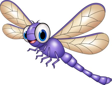 insecto: Ilustración del vector de la libélula divertida de dibujos animados aislado en el fondo blanco