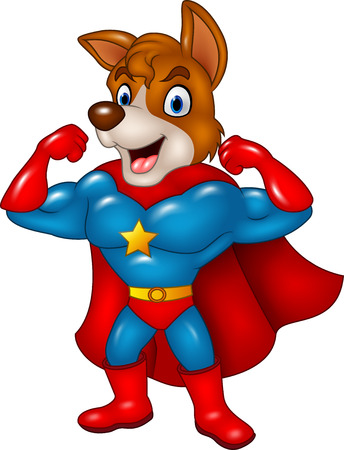 super dog: Vector illustration of Cartoon superhero dog posing isolated on white background