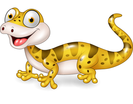 Vector illustration of Cute lizard posing isolated on white background