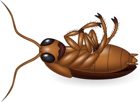Vector illustration of Cartoon dead cockroach