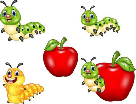 oruga: Ilustraci�n vectorial de divertido equipo de recogida de oruga de la historieta