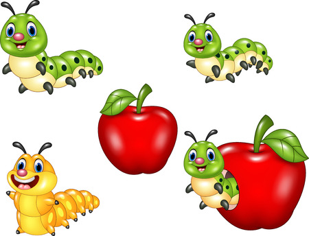 cartoon larva: Vector illustration of Cartoon funny Caterpillar collection set