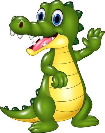 cocodrilo: Ilustración vectorial de dibujos animados divertido del cocodrilo agitando la mano aisladas sobre fondo blanco