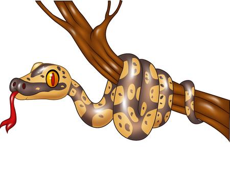 serpiente caricatura: Ilustración del vector de la serpiente de la historieta en una rama de árbol Vectores