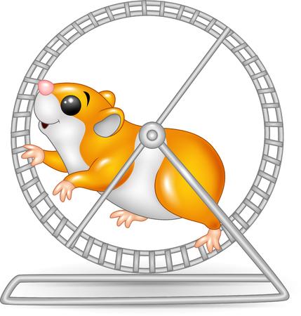 Vector illustration of Cute hamster running in roling wheel