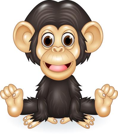 baby sitting: Vector illustration of Cartoon funny baby chimpanzee sitting isolated on white background