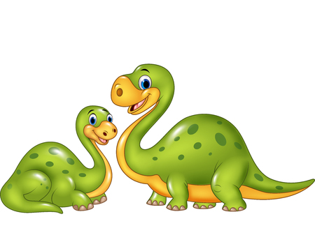 dinosaur cute: Vector illustration of Happy mother with baby dinosaur posing isolated on white background Illustration
