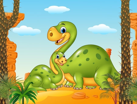 powerful volcano: Vector illustration of Happy mother with baby dinosaur in prehistoric background