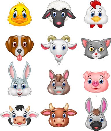 animal head: Vector illustration of Cartoon happy animal head collection Illustration