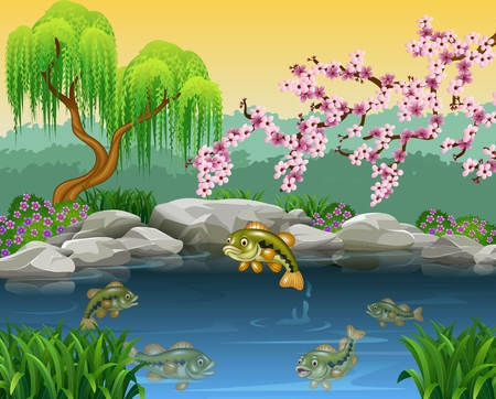 ponds: Vector illustration of Cartoon bass fish collection in a pond Illustration