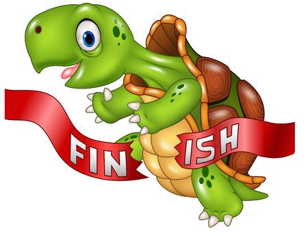 Vektor-Illustration von Cartoon-Schildkröte gewinnt nach der Zieldurchfahrt