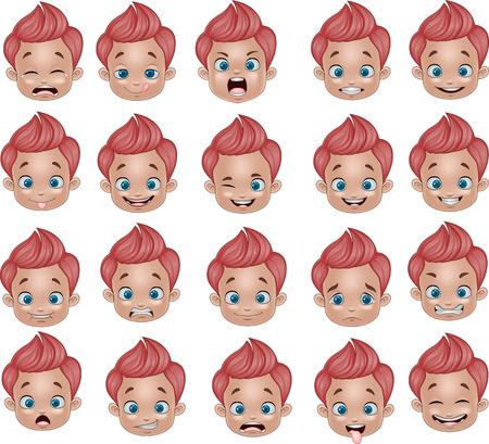 Vector illustration de bande dessinée drôle de petit garçon diverses expressions du visage