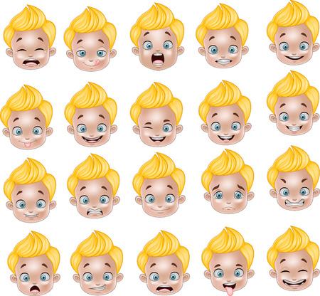 Vector illustratie van Cartoon Jongetje verschillende gezichtsuitdrukkingen