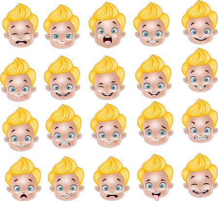 cartoon kid: Vector illustration of Cartoon Little boy various face expressions Illustration