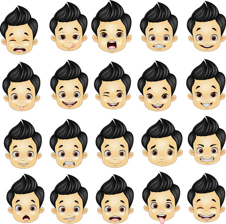 Vector illustration of Little boy various face expressions