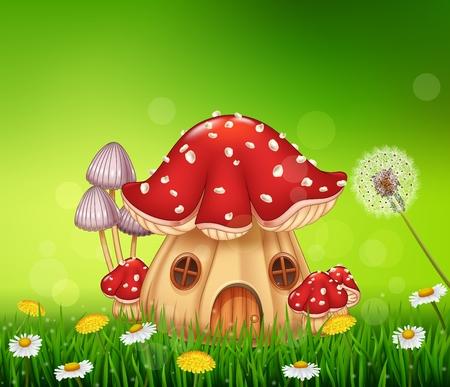meadow: Vector illustration of Beautiful home mushroom house