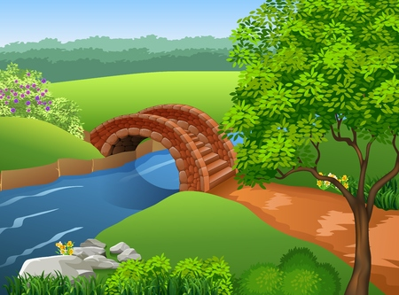 sky and grass: Vector illustration of Beautiful river on nature background