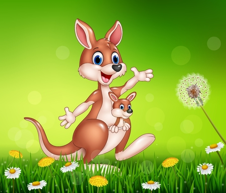 grass: Vector illustration of Cartoon funny kangaroo carrying a cute Joey