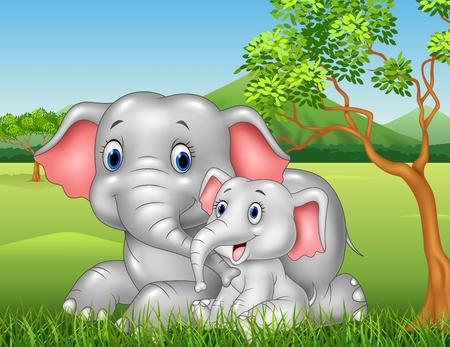 Vector illustration de bande dessinée drôle Mère et bébé éléphant sur fond de jungle