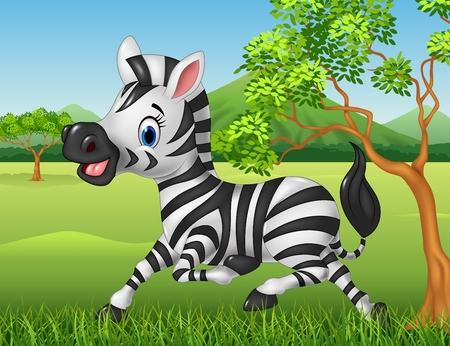 Vector illustration of Happy zebra running in the jungle