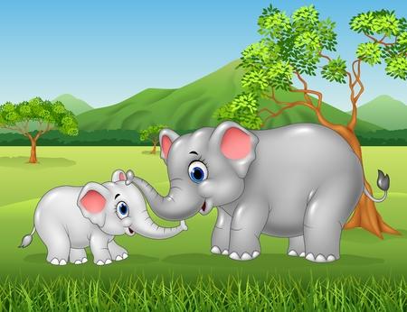 selva caricatura: Ilustración del vector de relación vínculo entre la madre elefante y la pantorrilla de la historieta en la selva