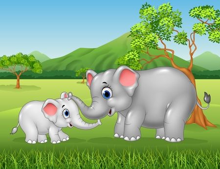Vector illustration of Cartoon elephant mother and calf bonding relationship in the jungle Çizim