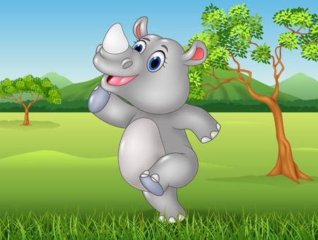 beauty smile: Vector illustration of Cartoon funny rhino posing in the jungle