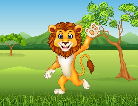 mountain lions: Vector illustration of Cartoon funny lion waving in the jungle