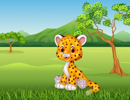 fur: Vector illustration of Cute baby cheetah in jungle Illustration