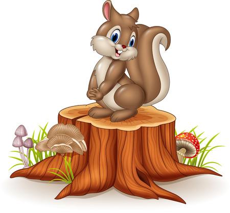 animales del bosque: Ilustración del vector de ardilla divertida historieta en el tronco de un árbol Vectores