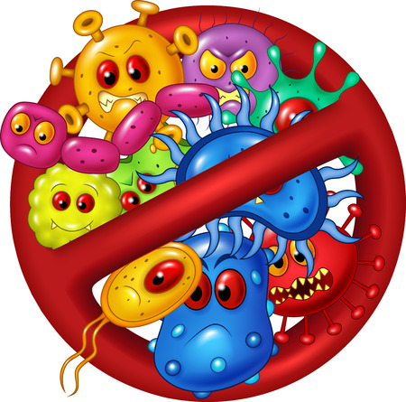 virus cell: Vector illustration of Cartoon stop virus