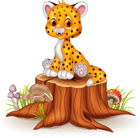 baby sitting: Vector illustration of Cartoon happy baby cheetah sitting on tree stump