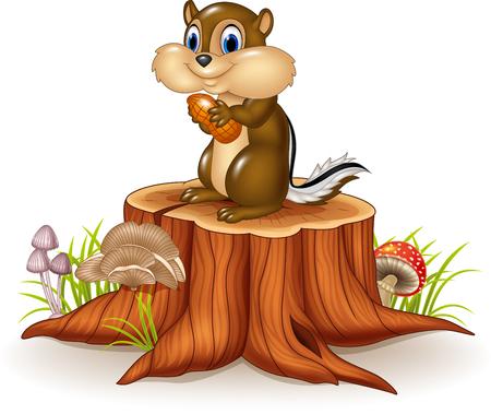 ardilla: Ilustración del vector de ardilla de dibujos animados con maní en tocón de árbol