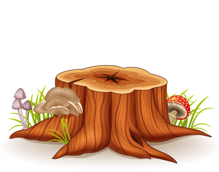 Vector illustration of tree stump and mushroom Иллюстрация