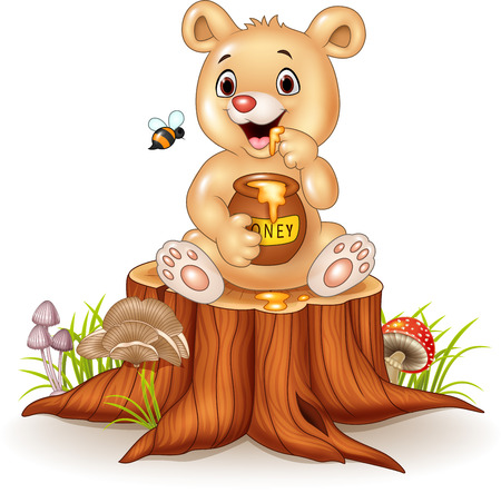abeja caricatura: Ilustración vectorial de dibujos animados oso divertido del bebé sosteniendo la olla de la miel en tocón de árbol