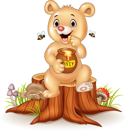 honey pot: Vector illustration of Cute baby bear holding honey pot on tree stump Illustration