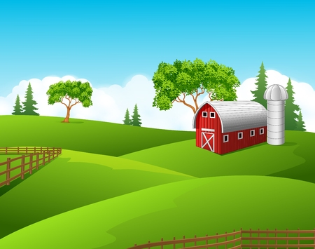 barns: Vector illustration of Beautiful farm landscape background