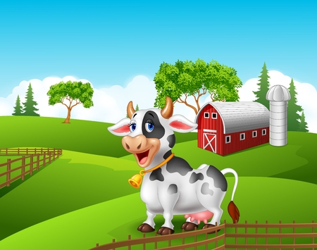 moo: Vector illustration of Cartoon funny cow in the farm landscape background Illustration