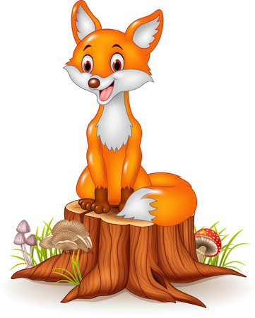 Vector illustration of Cartoon happy fox sitting on tree stump Ilustracja
