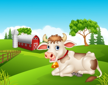 lanscape: Vector illustration of Cartoon cow sitting in the farm Illustration