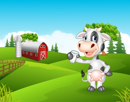 Vector illustration of Cartoon cow holding glass in the farm