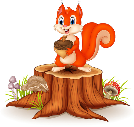 Vector illustration of Cartoon squirrel holding pinecone on tree stump