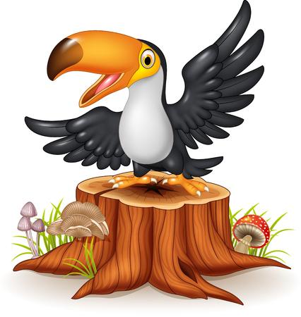 tree stump: Vector illustration of Cartoon funny toucan on tree stump