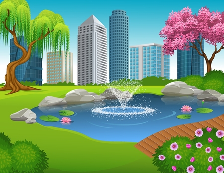 bridge in nature: Vector illustration of City Park and Skyscrapers Illustration
