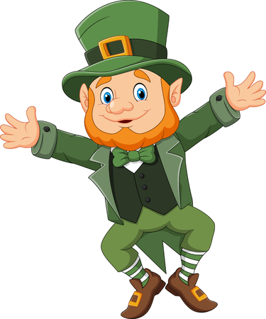 Vector illustration of Cartoon happy leprechaun dancing
