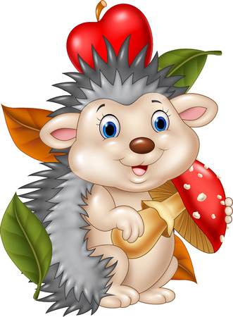 Vector illustration of Adorable baby hedgehog holding mushroom Çizim