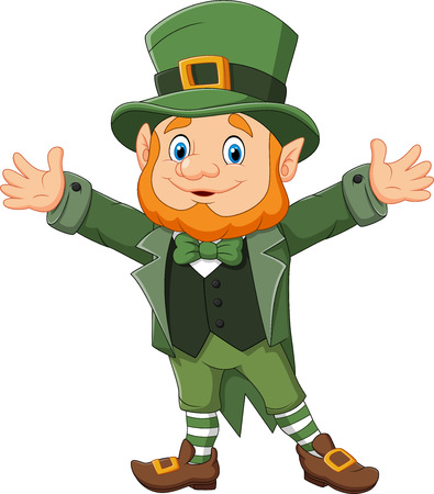 Vector illustration of Cartoon funny leprechaun waving hand Çizim