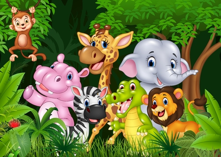 Vector illustration of Cute animal africa in the jungle Vettoriali